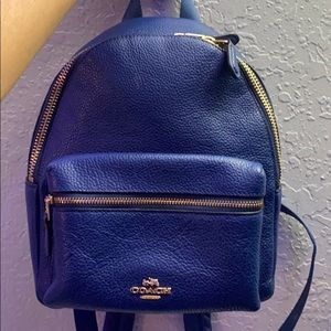 This is a Coach blue mini backpack